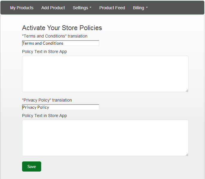 Manage the Policies in your Facebook Store – Application Support