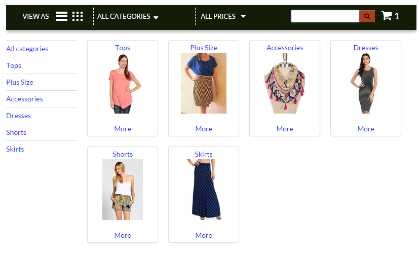 Facebook Store Landing Page by Category – Application Support